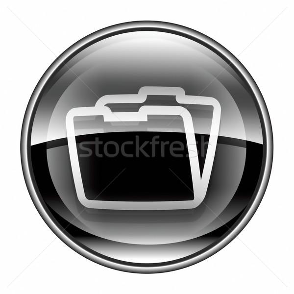 Stok fotoğraf: Klasör · ikon · siyah · yalıtılmış · beyaz · Internet