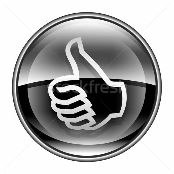 Kciuk w górę ikona czarny zatwierdzenie gest Zdjęcia stock © zeffss