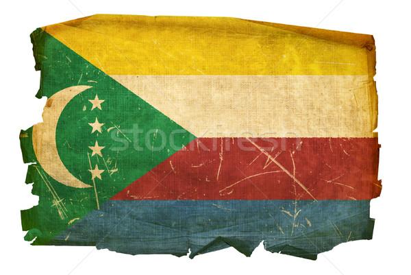 Comoros Flag old, isolated on white background. Stock photo © zeffss