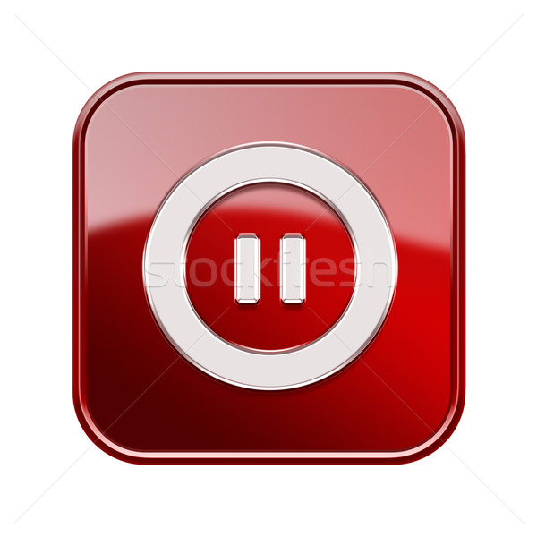 Pause icon glossy red, isolated on white background Stock photo © zeffss