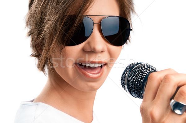 Zdjęcia stock: Dziewczyna · śpiewu · biały · kobieta · muzyki · okulary