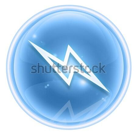 Relâmpago ícone cinza isolado branco Foto stock © zeffss
