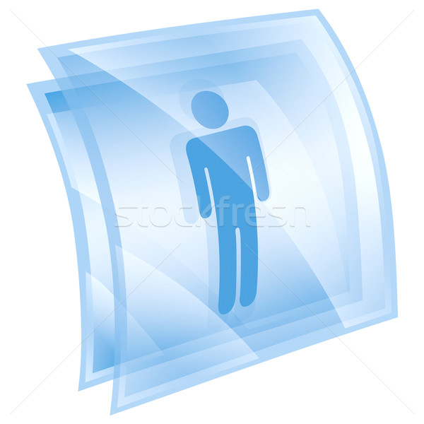 Сток-фото: мужчин · икона · синий · изолированный · белый · интернет