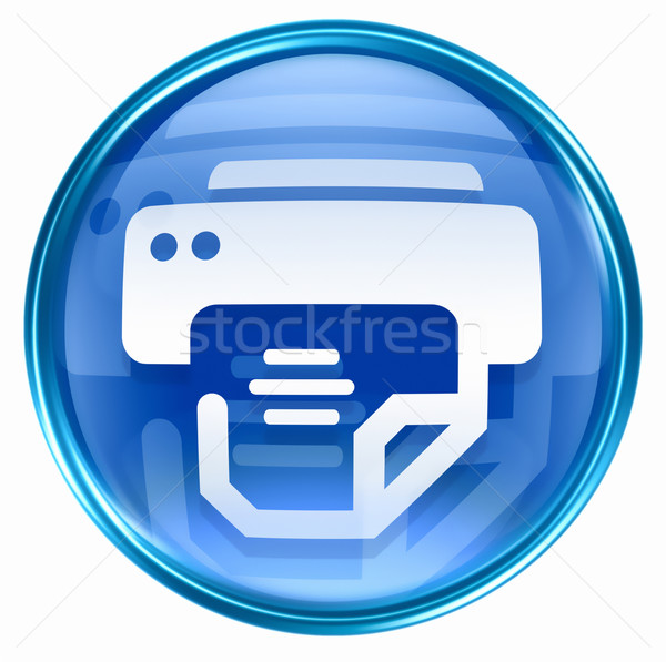 Stockfoto: Printer · icon · Blauw · geïsoleerd · witte · business