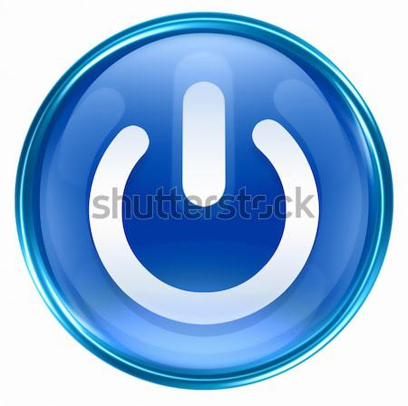power button blue, isolated on white background. Stock photo © zeffss