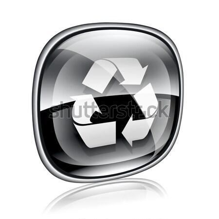 Stock fotó: újrahasznosítás · szimbólum · ikon · fekete · üveg · izolált