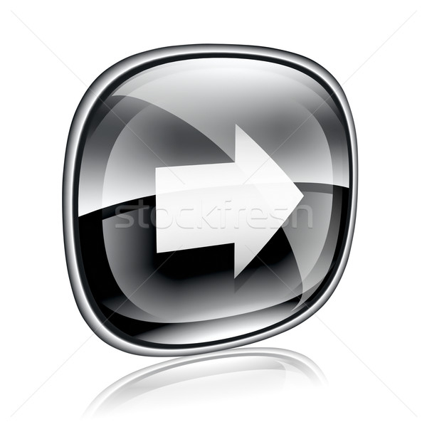 Arrow right icon black glass, isolated on white background. Stock photo © zeffss