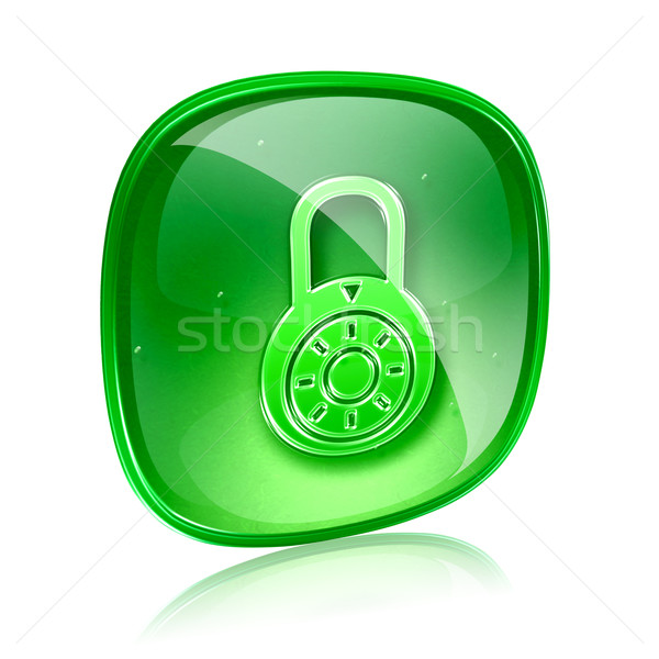 Lock off, icon green glass, isolated on white background. Stock photo © zeffss