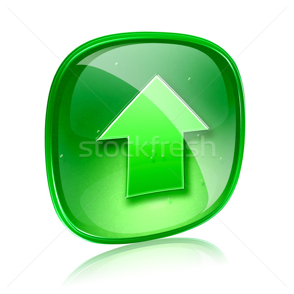 Upload icon green glass, isolated on white background. Stock photo © zeffss