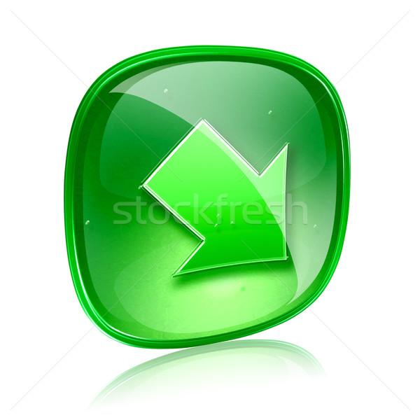 Arrow icon green glass, isolated on white background Stock photo © zeffss