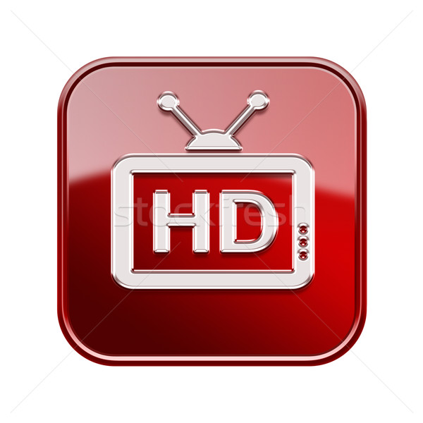 TV icon glossy red, , isolated on white background Stock photo © zeffss