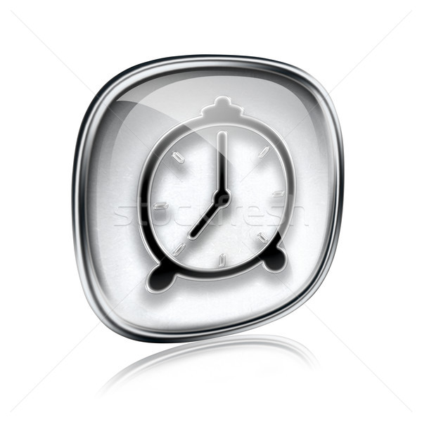 Clock icon grey glass, isolated on white background stock
