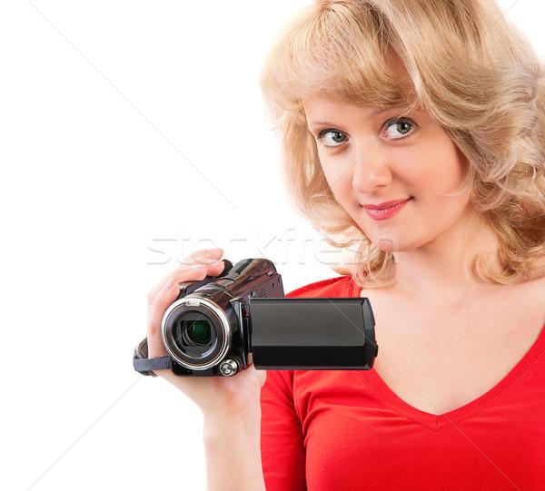 Close-up of a woman holding a home video camera Stock photo © zeffss
