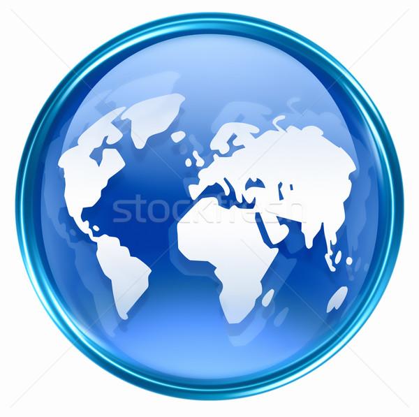 Wereld icon Blauw geïsoleerd witte business Stockfoto © zeffss