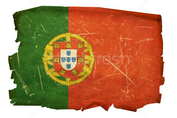Stock fotó: Portugália · zászló · öreg · izolált · fehér · festmény