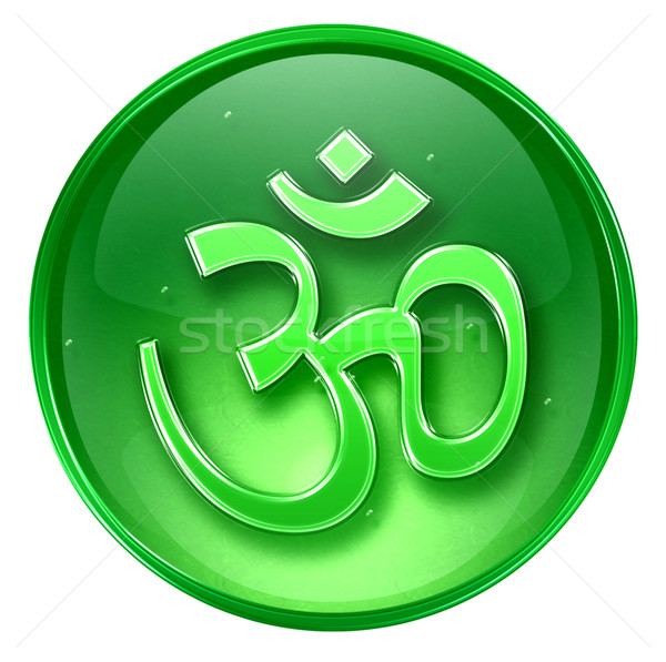 Om Symbol icon green, isolated on white background. Stock photo © zeffss