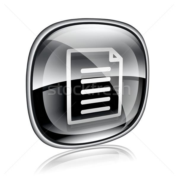 документа икона черный стекла изолированный белый Сток-фото © zeffss