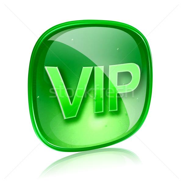 Vip icono verde vidrio aislado blanco Foto stock © zeffss
