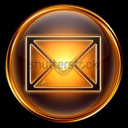 postal envelope icon dark blue, isolated on black background Stock photo © zeffss