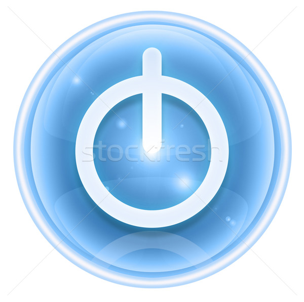 Stockfoto: Macht · knop · ijs · geïsoleerd · witte · internet