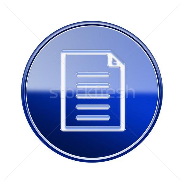 Document icon glanzend Blauw geïsoleerd witte Stockfoto © zeffss