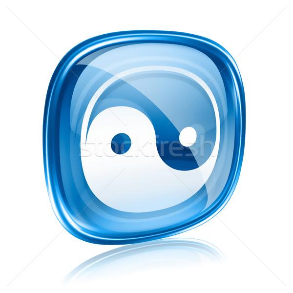 yin yang symbol icon blue glass, isolated on white background. Stock photo © zeffss