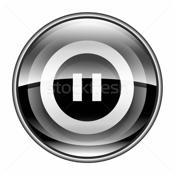 Pause icon black, isolated on white background. Stock photo © zeffss