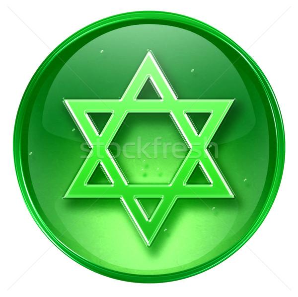 David star icon green, isolated on white background. Stock photo © zeffss
