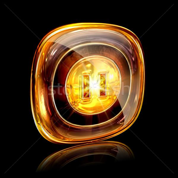 Icono ámbar aislado negro Internet luz Foto stock © zeffss