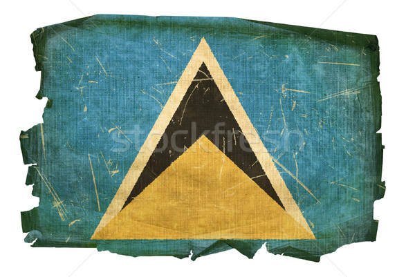 Saint Lucia flag old, isolated on white background Stock photo © zeffss