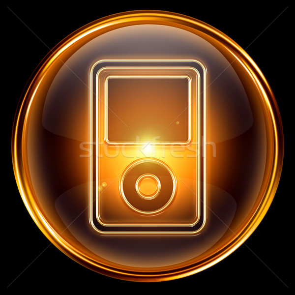mp3 player golden, isolated on black background. Stock photo © zeffss