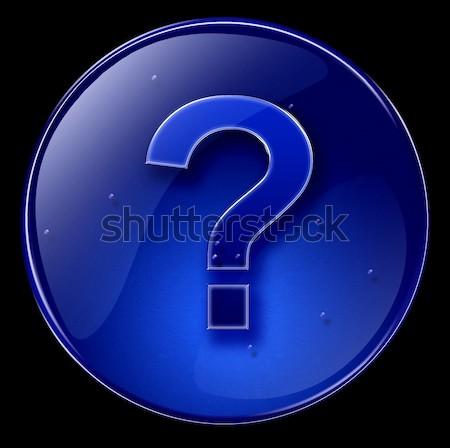 Foto d'archivio: Questione · simbolo · icona · buio · blu · isolato