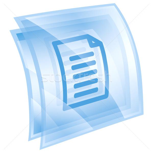 Сток-фото: документа · икона · синий · изолированный · белый · воды