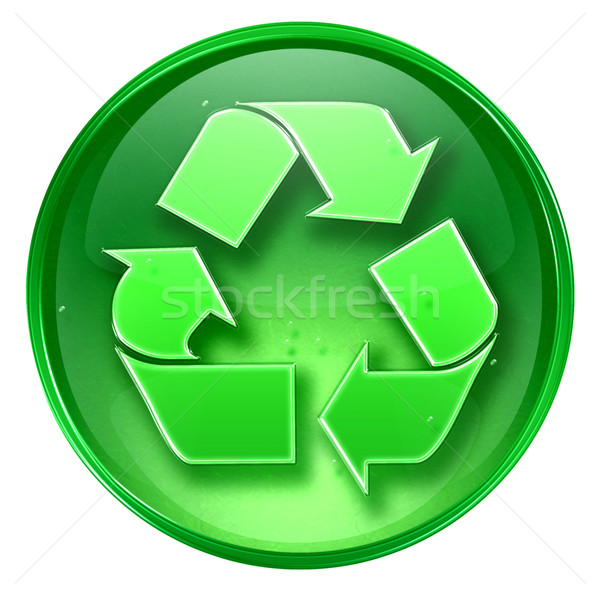 Recycling symbol icon green, isolated on white background.  Stock photo © zeffss
