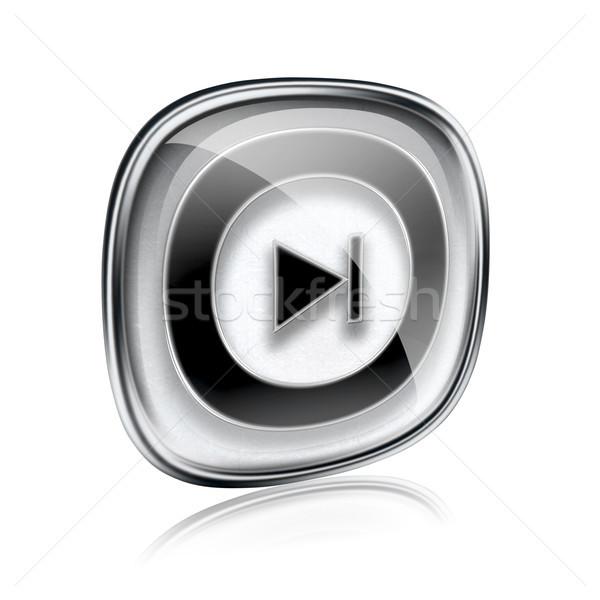 Rewind Forward icon grey glass, isolated on white background. Stock photo © zeffss