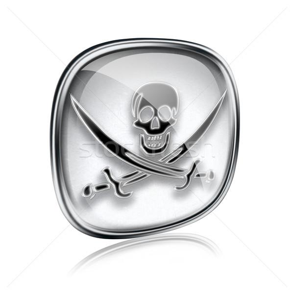 ストックフォト: 海賊 · アイコン · グレー · ガラス · 孤立した · 白