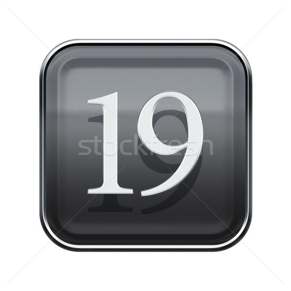 Neunzehn Symbol grau glänzend isoliert weiß Stock foto © zeffss