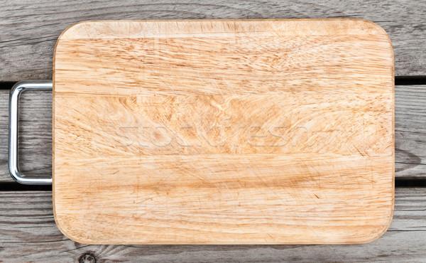 Top Ansicht Holz Schneidebrett alten Tabelle Stock foto © zeffss
