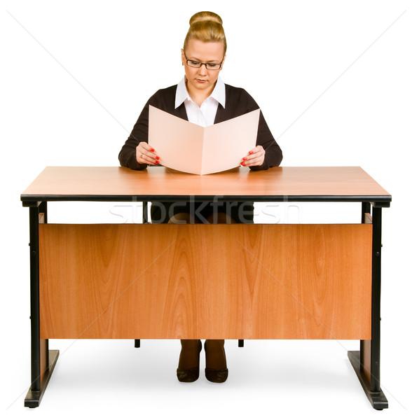 Foto stock: Mulher · de · negócios · isolado · branco · papel · trabalhar · tabela