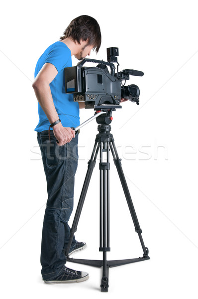 Stock photo: Professional cameraman, isolated on white background