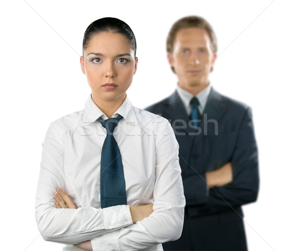 Businesswoman and man on white background Stock photo © zeffss