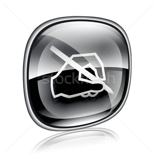 Сток-фото: электронная · почта · икона · черный · стекла · изолированный · белый