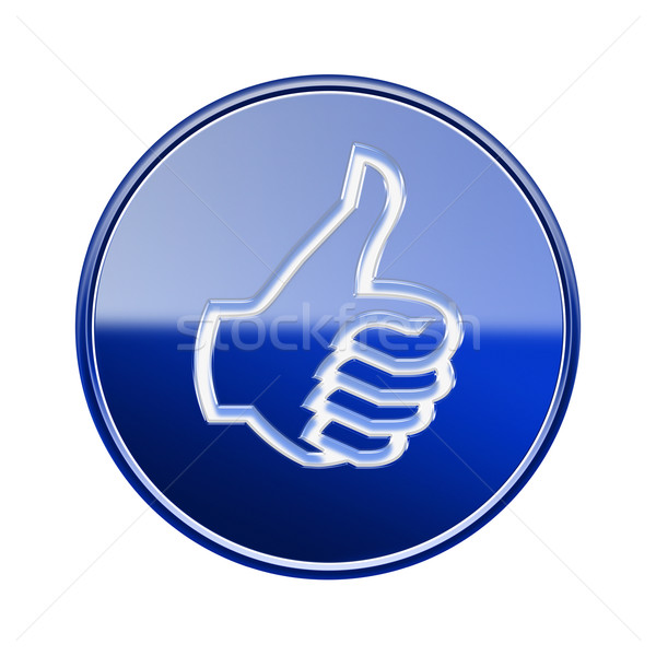 thumb up icon glossy blue, isolated on white background. Stock photo © zeffss