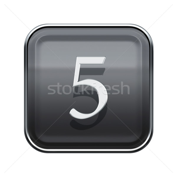 Foto stock: Número · cinco · cinza · isolado · branco