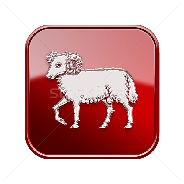 Aries zodiac icon red, isolated on white background Stock photo © zeffss