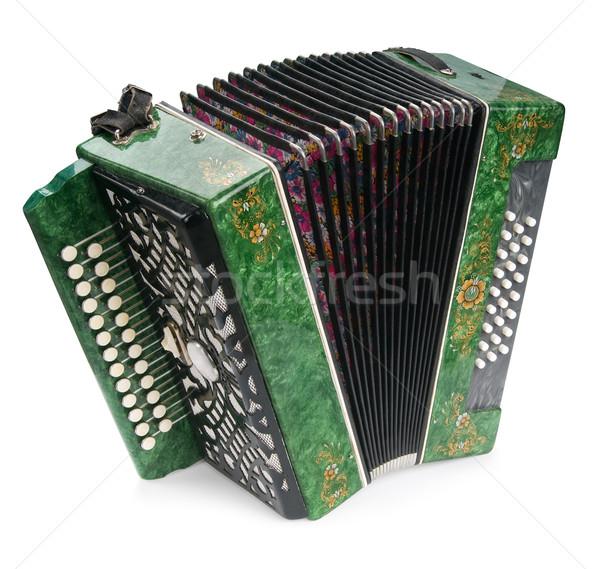 Stock fotó: Zöld · harmonika · izolált · fehér · virág · fém