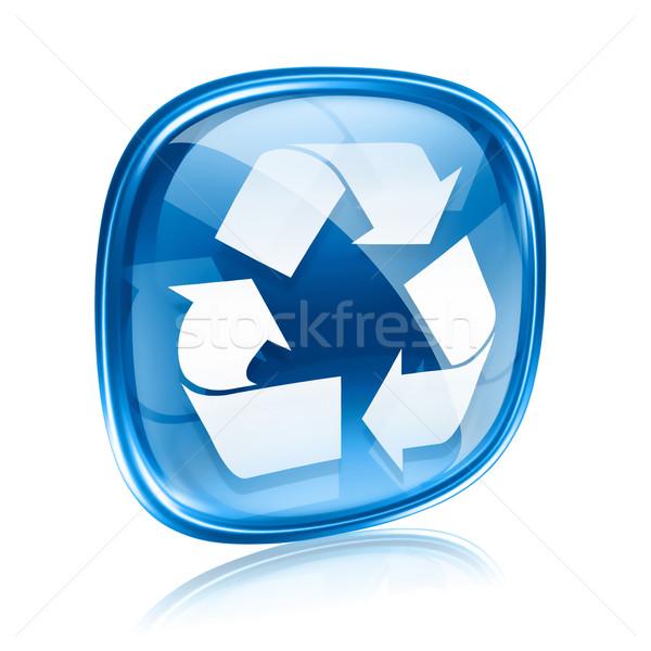 Foto stock: Reciclagem · símbolo · ícone · azul · vidro · isolado