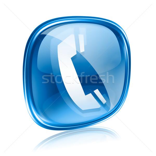 Telefon ikon mavi cam yalıtılmış beyaz Stok fotoğraf © zeffss