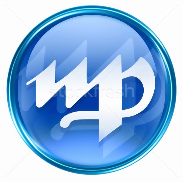 Virgo zodiac button icon, isolated on white background. Stock photo © zeffss