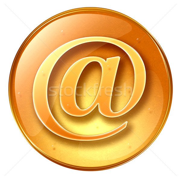Сток-фото: электронная · почта · символ · желтый · изолированный · белый · служба